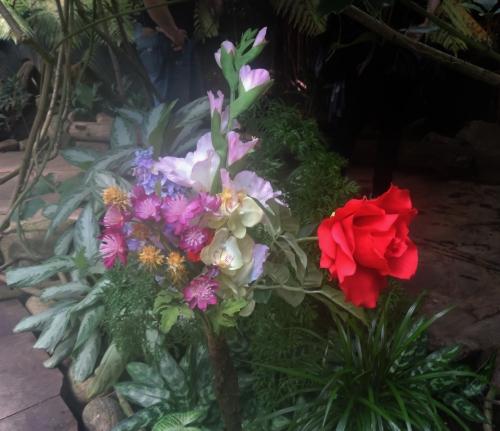 Konstgjorda blommor på fjärilarnas matbord